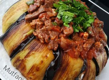 Patlıcanlı kavurmalı pirinç pilavı